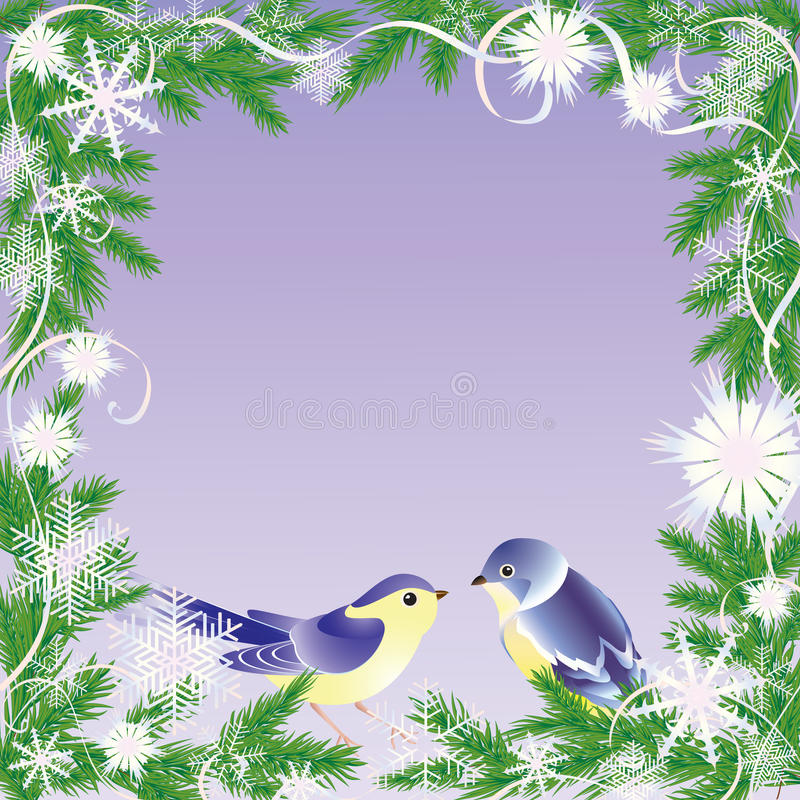 рамка рождества птиц иллюстрация штока