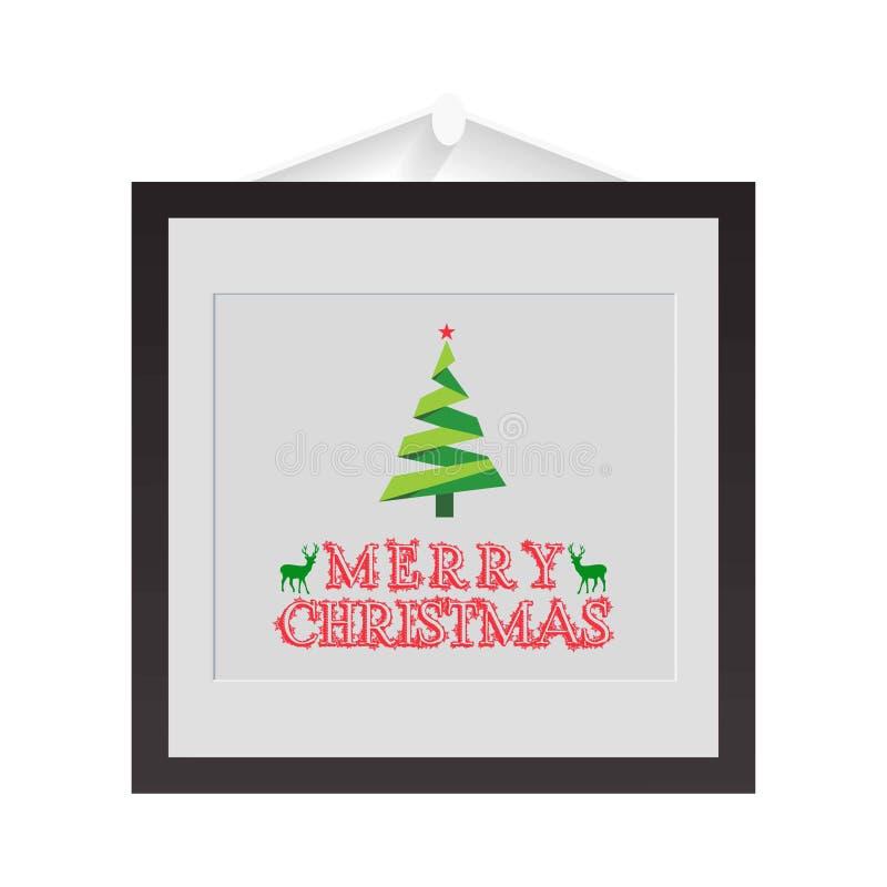 Рамка рождества с типографским и деревом бесплатная иллюстрация