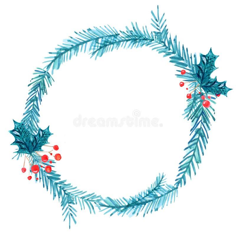 Рамка рождества, венок акварели Покрашенная рука иллюстрация штока