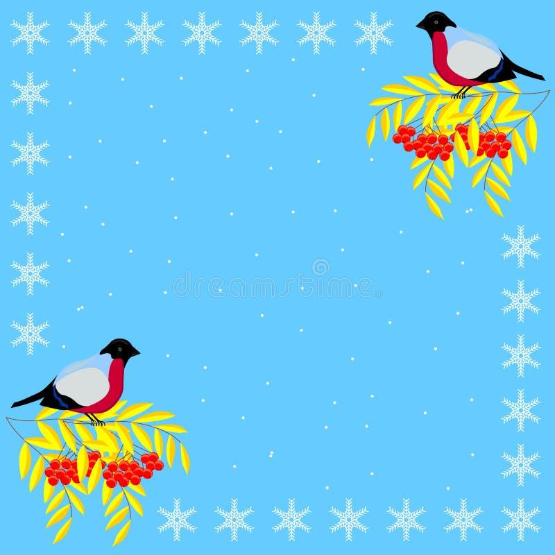 Рамка рождества и Нового Года ветвей золы горы, bullfinches и снежинок иллюстрация штока