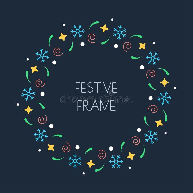 Рамка рождества красочная круглая для рождественских открыток, приглашения, печать и зима конструируют вектор бесплатная иллюстрация