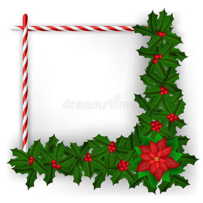 Рамка рождества с ветвью и конфетой падуба бесплатная иллюстрация