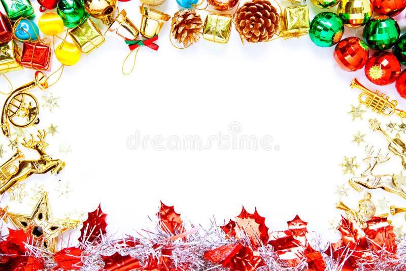 Рамка рождества с орнаментами рождества и украшениями и полисменом стоковое фото rf