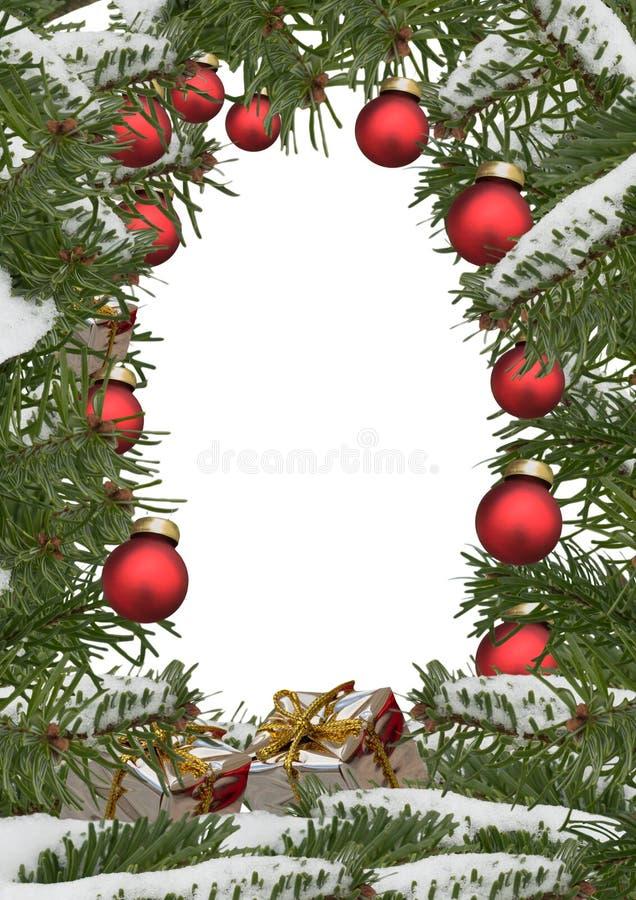 Рамка рождества с украшениями и поле для текста иллюстрация штока