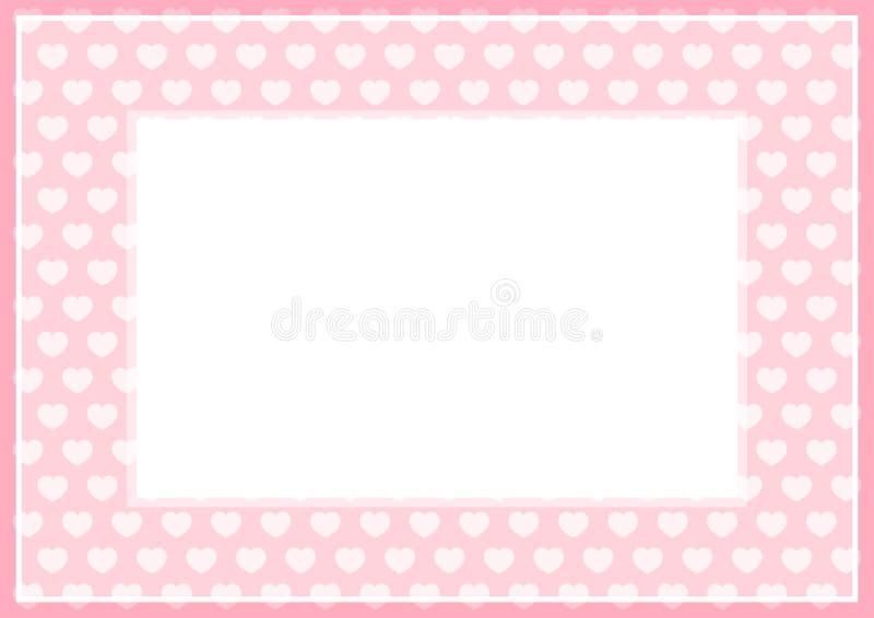 Рамка розовой нежности пастельного цвета и сердца формируют для предпосылки знамени и белой бумаги космоса экземпляра, формы на р иллюстрация вектора