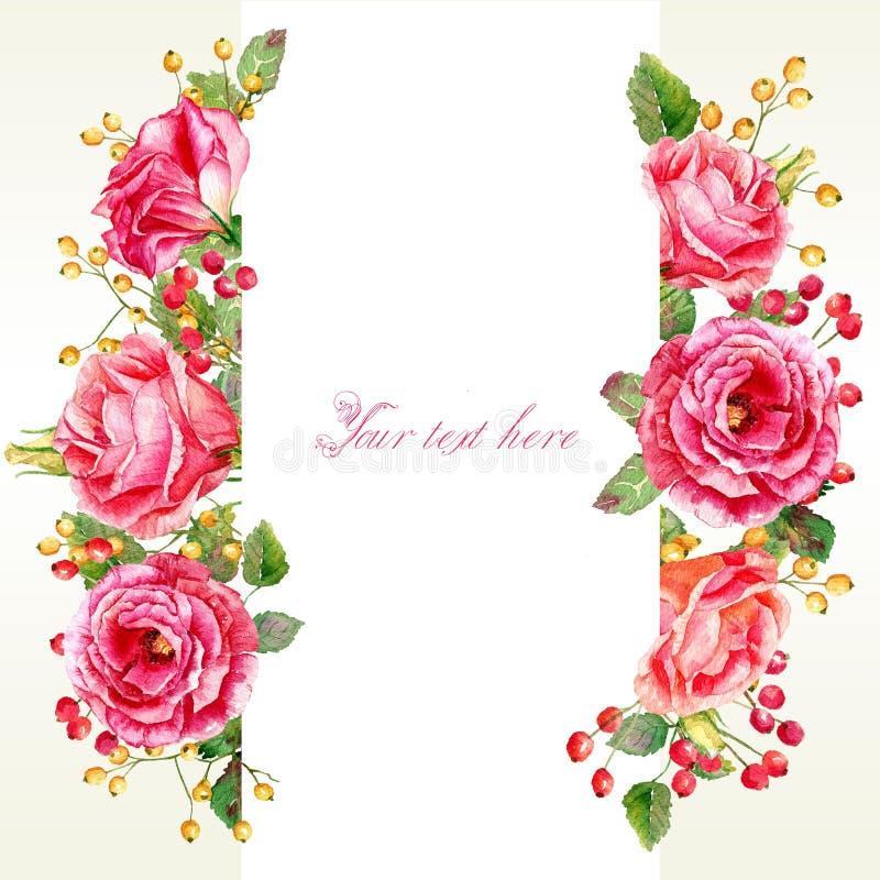 Рамка роз и ягод акварели иллюстрация штока