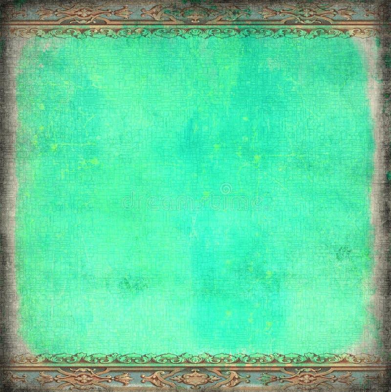 Рамка рококо Grunge голубая иллюстрация вектора