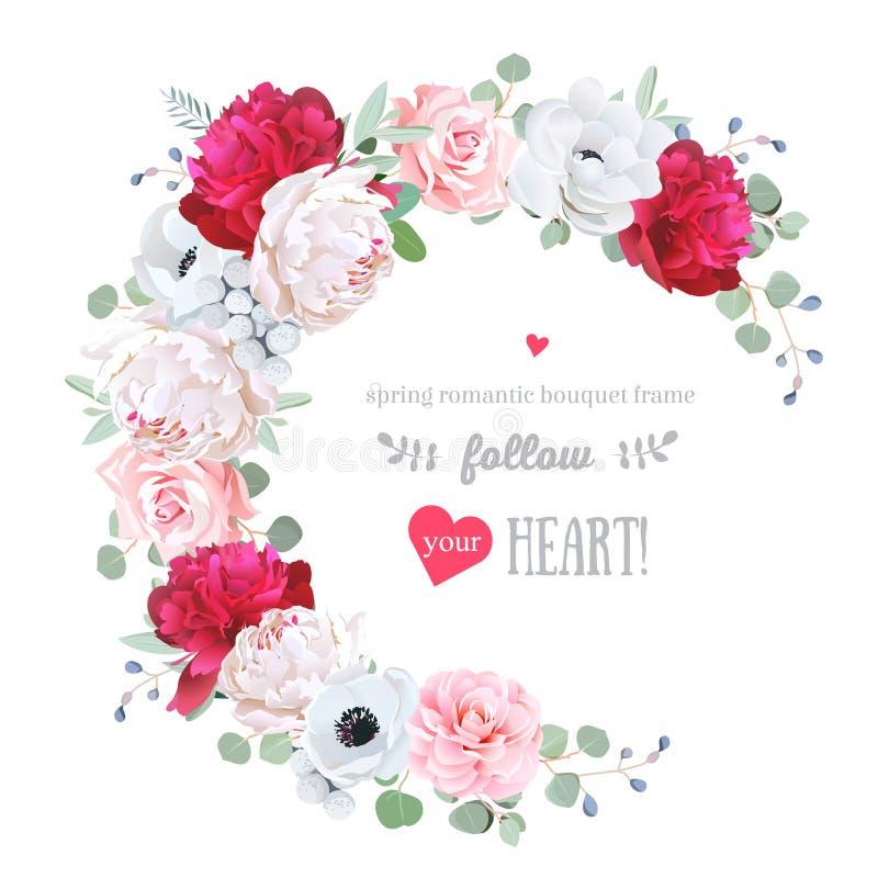 Рамка роскошного флористического вектора круглая с цветками иллюстрация вектора