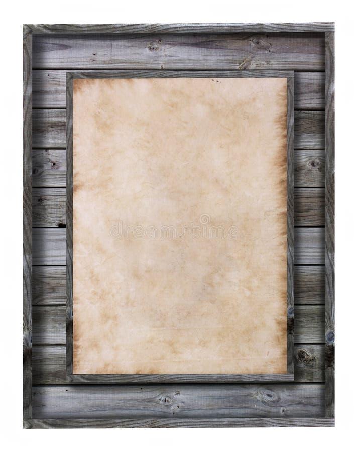 Рамка сбора винограда деревянная с бумажным заполнением стоковая фотография