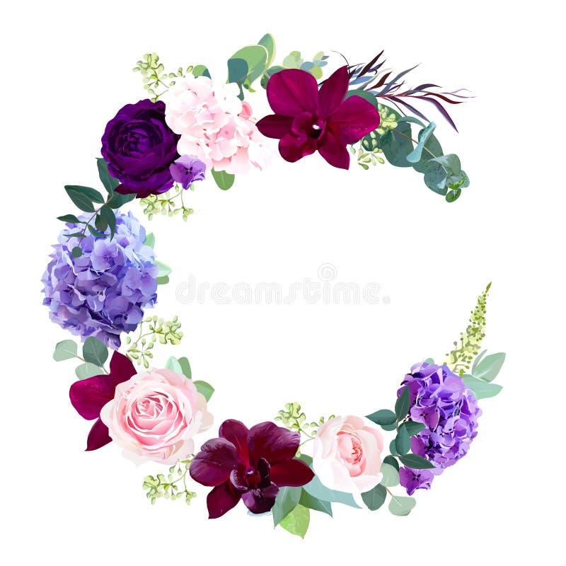Рамка свадьбы дизайна вектора цветков полумесяца темная бесплатная иллюстрация