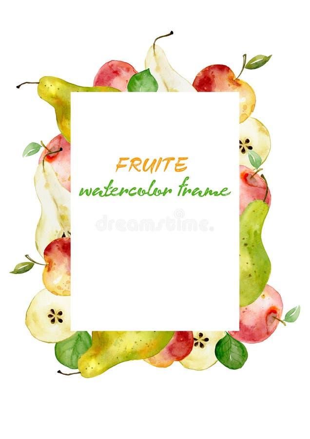 Рамка сделанная из плодов красного яблока акварели, зеленой груши Плоды рамки яблок груш прямоугольника для еды комплексного конс иллюстрация вектора