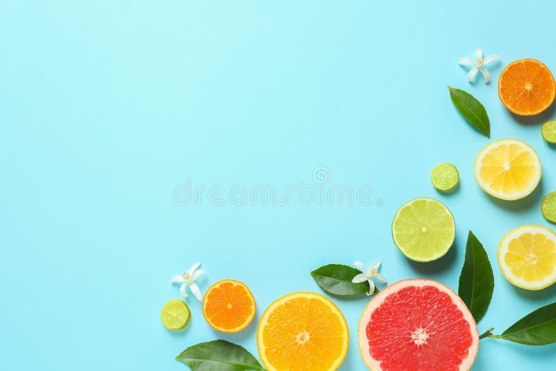 Рамка сделанная из различных цитрусовых фруктов и листьев на предпосылке цвета, плоском положении стоковая фотография