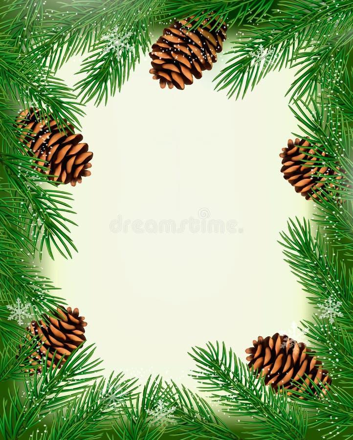 Рамка сделанная из рождественской елки разветвляет с сосенкой co бесплатная иллюстрация