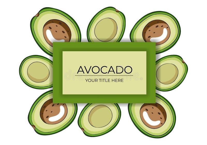 Рамка сделанная из уменьшанных вдвое зеленых авокадоов с коричневыми косточками и с космосом для текста иллюстрация вектора