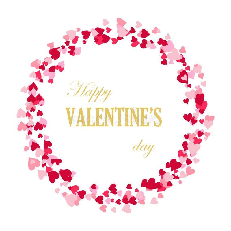 Рамка сердец, красивых поздравительных открыток, приглашений свадьбы, дня ` s валентинки иллюстрация штока