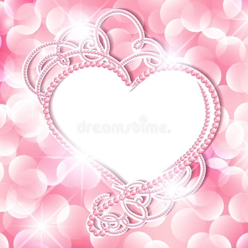 Рамка сердца жемчуга иллюстрация вектора