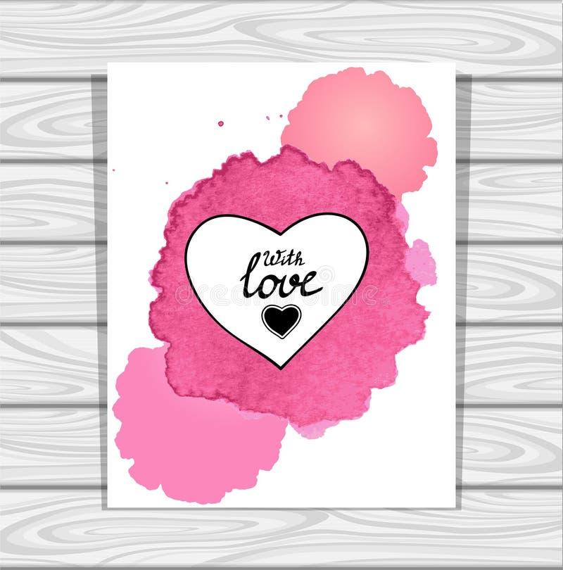 Рамка сердца шаблона в акварелях розовой сирени белых пятнает на серой деревянной предпосылке бесплатная иллюстрация