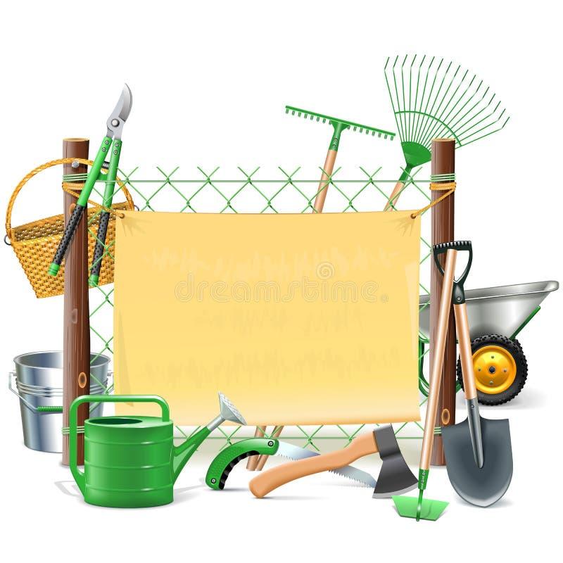 Рамка сетки вектора с садовыми инструментами иллюстрация штока