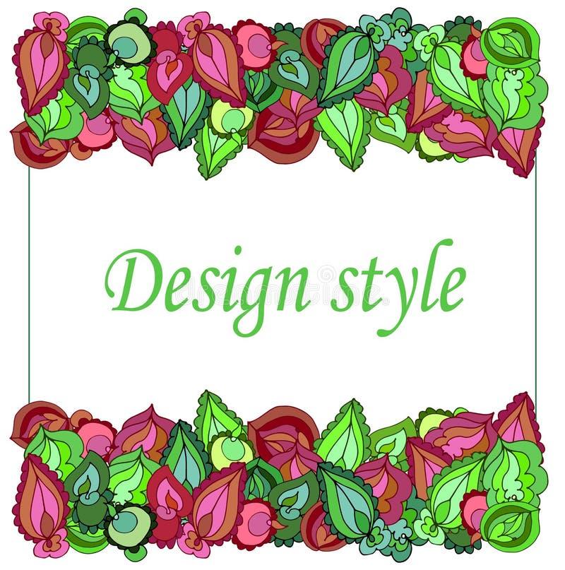Рамка симметричных картин зеленых и бургундских листьев бесплатная иллюстрация