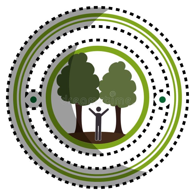 Рамка стикера зеленая круговая с человеком в природе с деревьями бесплатная иллюстрация
