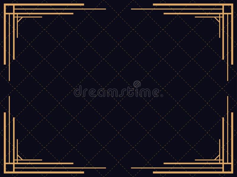 рамка стиля Арт Деко Винтажная линейная граница Конструируйте шаблон для приглашений, листовок и поздравительных открыток иллюстрация штока