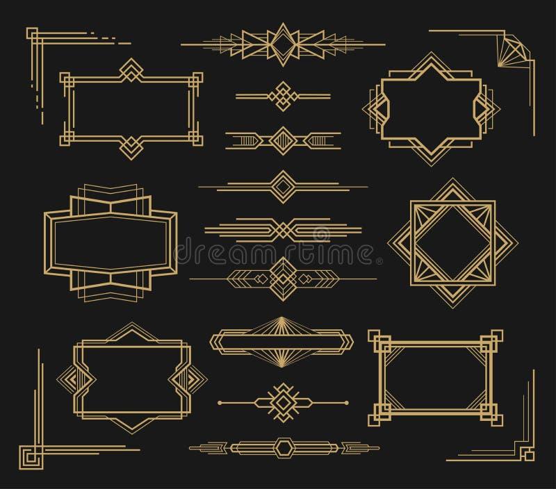 Рамка стиля Арт Деко и набор орнамента границы иллюстрация штока