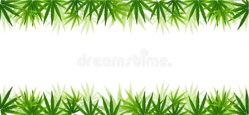 Рамка сформированная при листья марихуаны пеньки изолированные на белизне бесплатная иллюстрация