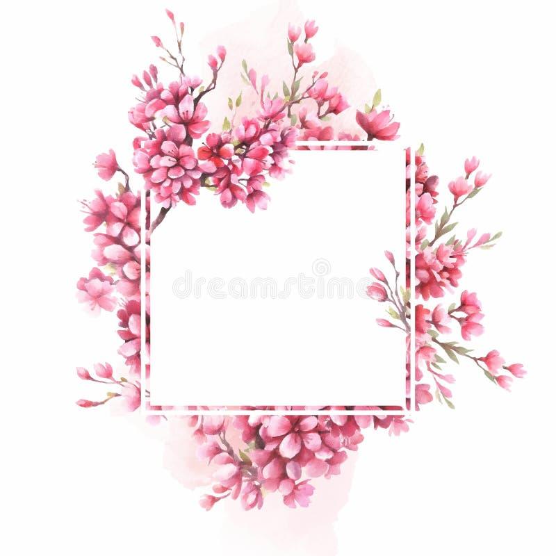 Рамка с вишневыми цветами E бесплатная иллюстрация