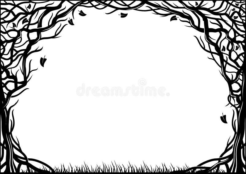 Рамка с естественной текстурой 2 деревьев иллюстрация штока