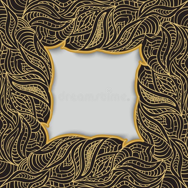 Рамка сделанная курчавых золотых элементов притяжки руки Космос для текста иллюстрация штока