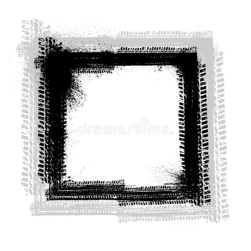 Рамка следа автошины Grunge иллюстрация штока