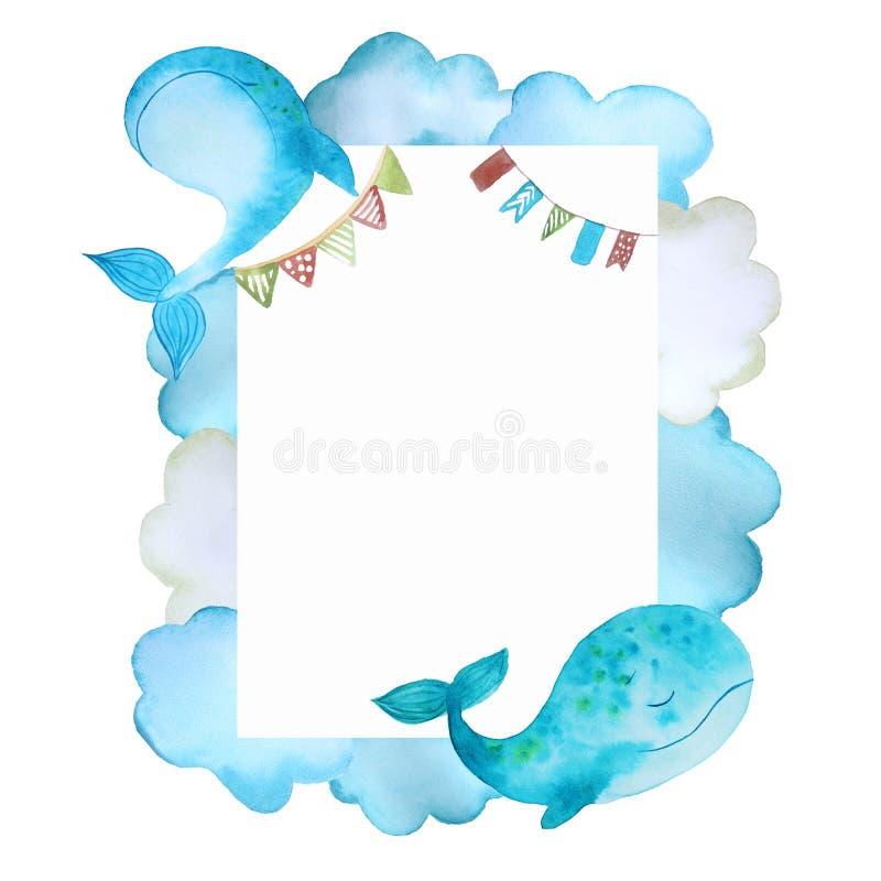 Рамка с китами бесплатная иллюстрация