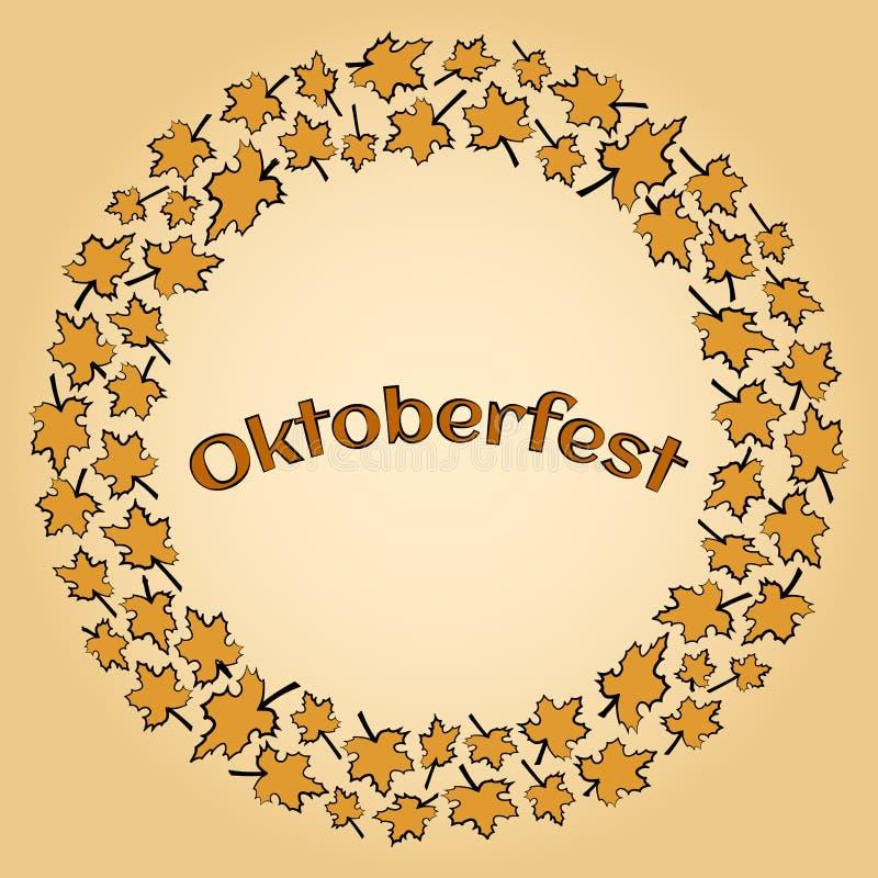 Рамка с кленовыми листами для вектора Oktoberfest иллюстрация вектора