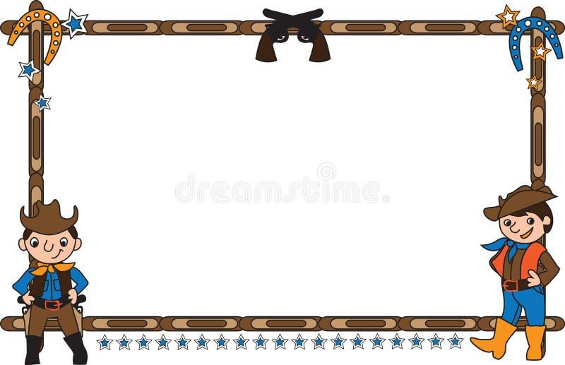 Рамка с ковбоями иллюстрация штока