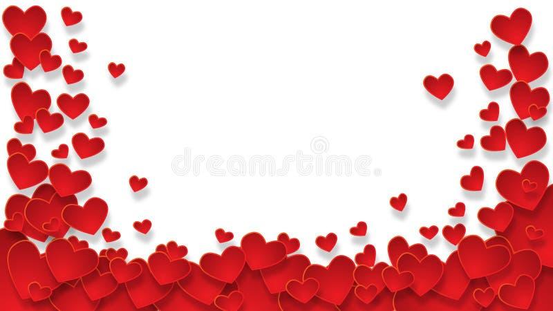 Рамка с красными сердцами на прозрачной предпосылке стоковые фотографии rf