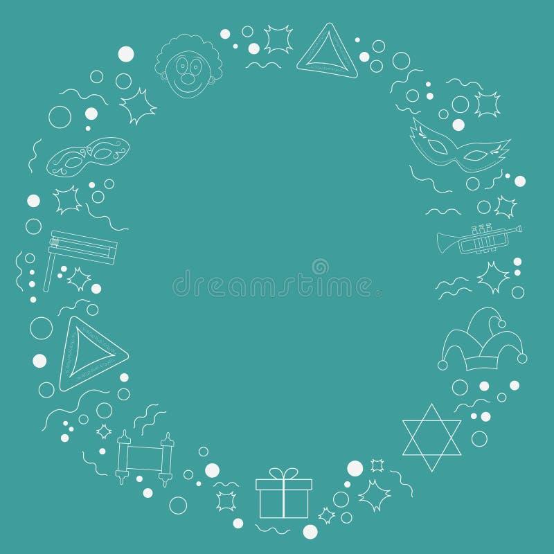 Рамка с линией значками плоского дизайна праздника purim белой тонкой бесплатная иллюстрация