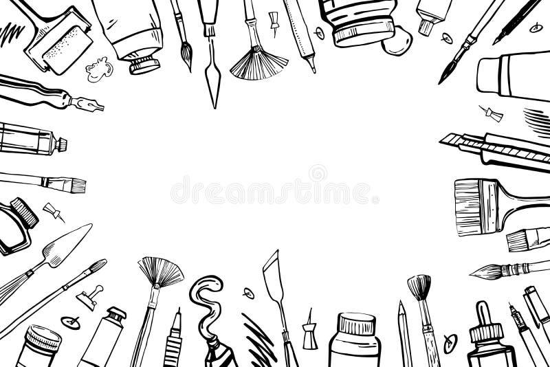 Рамка с материалами художника вектора эскиза руки вычерченными Черно-белая стилизованная иллюстрация с картиной и чертежными инст иллюстрация вектора