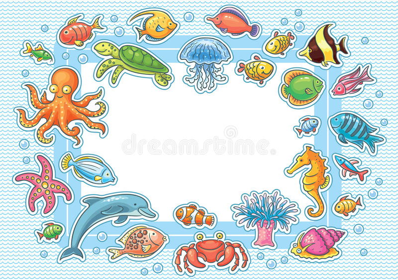 Рамка с морскими животными иллюстрация вектора