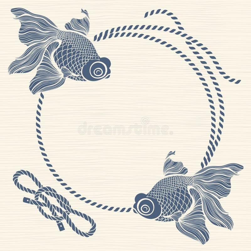 Нарисованное море с рыбами