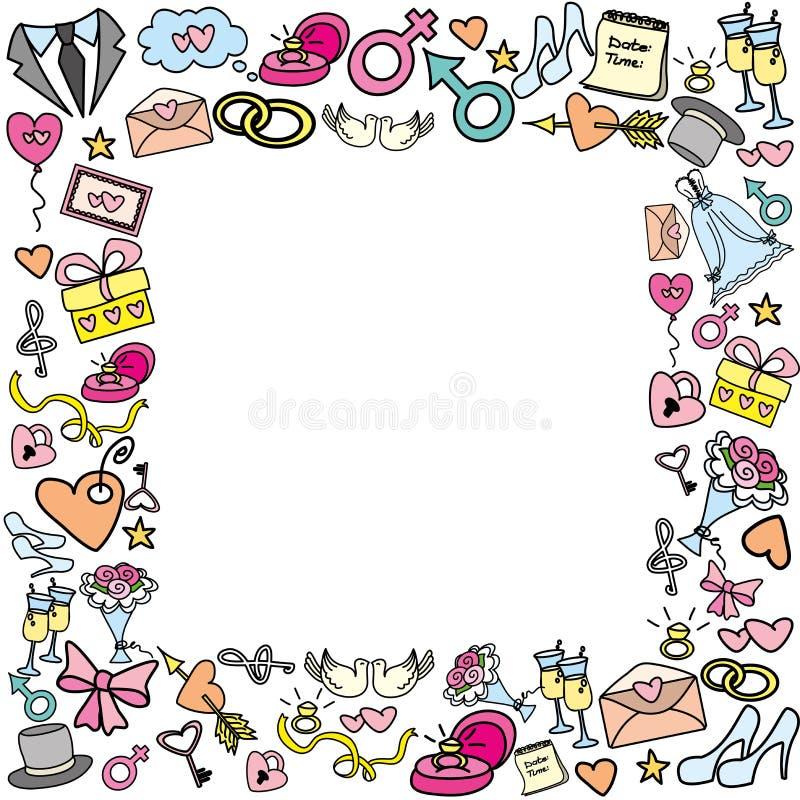 Рамка с объектами свадьбы иллюстрация штока