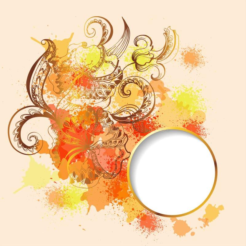 Рамка с орнаментом схематичных doodles декоративным иллюстрация вектора