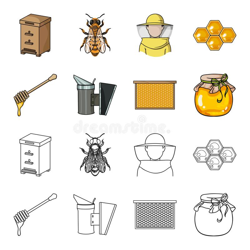Рамка с сотами, ковш меда, fumigator от пчел, опарник меда Значки собрания пасеки установленные в шарже бесплатная иллюстрация