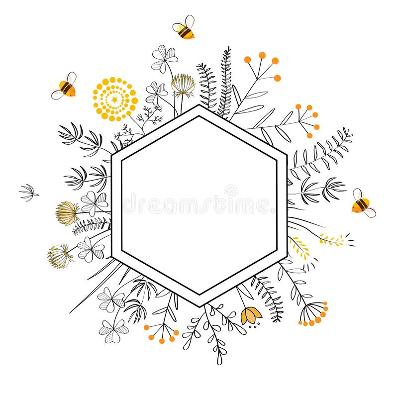 Рамка с цветками и пчелами меда E иллюстрация штока