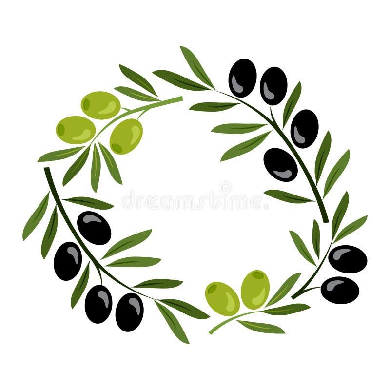 Рамка с черными и зелеными оливками вектор бесплатная иллюстрация