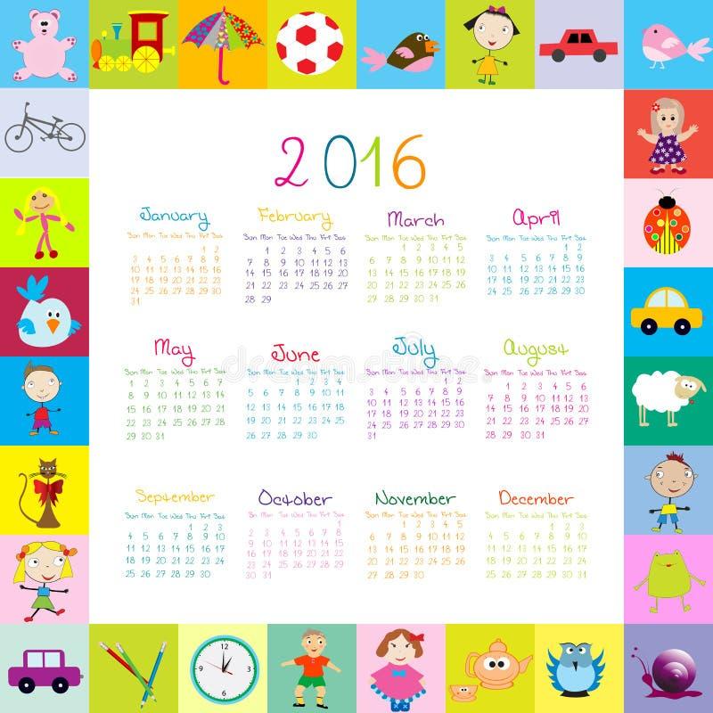 Рамка с шаржем забавляется календарь 2016 бесплатная иллюстрация