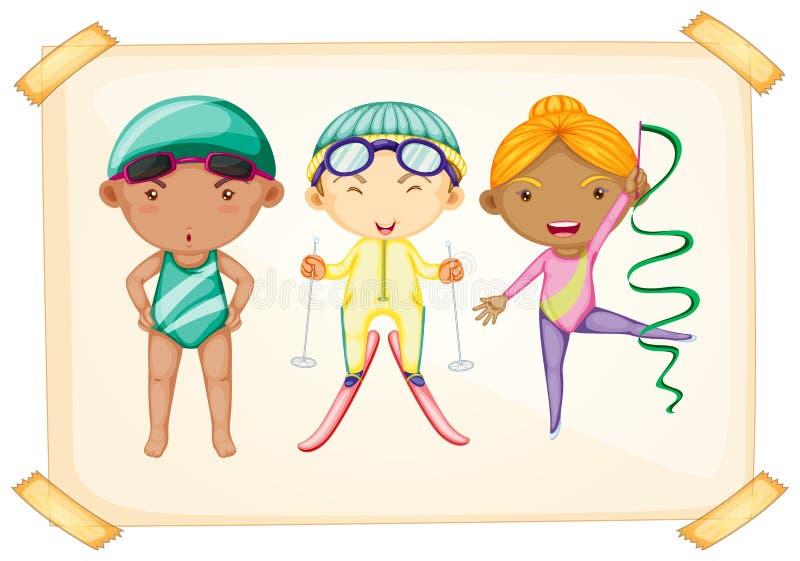 Рамка с 3 sporty детьми иллюстрация вектора