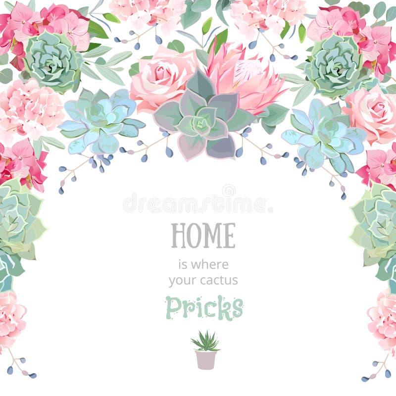 Рамка с succulents, protea гирлянды полуокружности, подняла, пион бесплатная иллюстрация