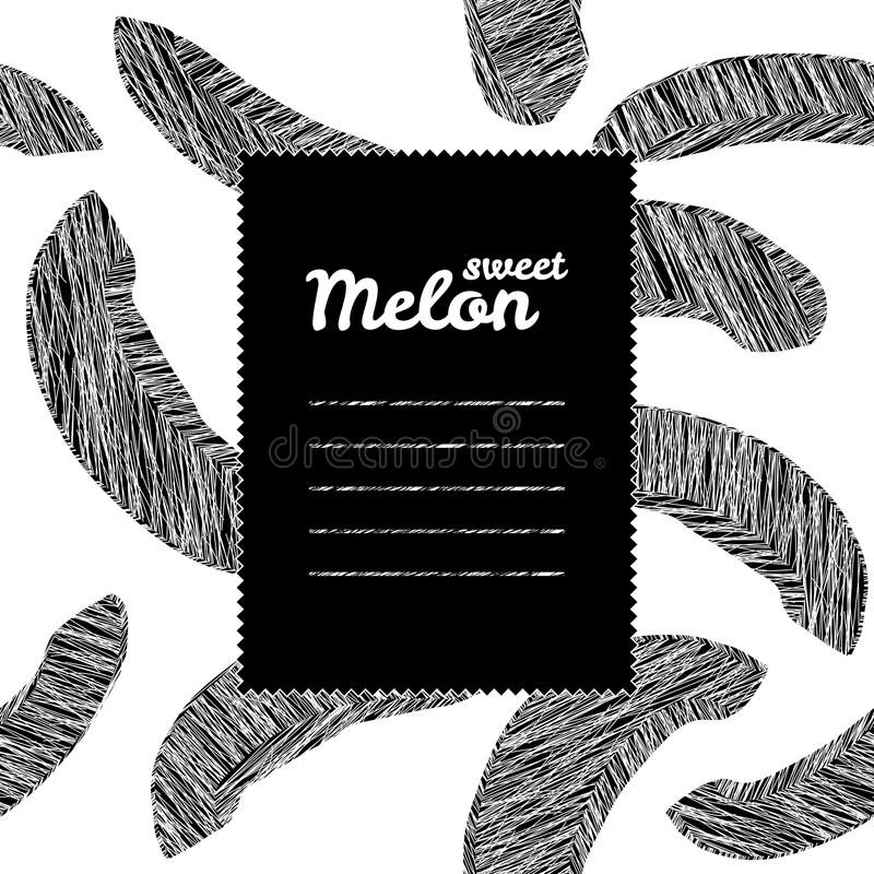 Рамка текста с предпосылкой дыни черная белизна Повторять фон сбора бесплатная иллюстрация