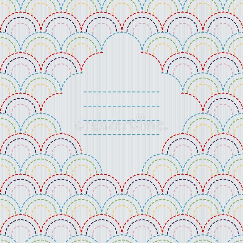 Рамка текста Традиционный японский орнамент вышивки с стилизованными масштабами рыб бесплатная иллюстрация