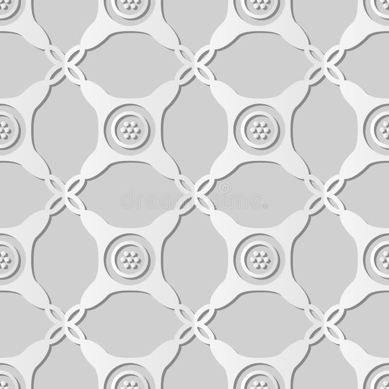 рамка точки креста проверки круглого угла искусства белой бумаги 3D иллюстрация штока